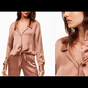 Wilfred Peaufiner tie-front Blouse dusty pink S